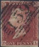 1852 1d Red SG11 Plate 150 'DL'